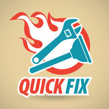 Adjustable wrench and plunger, fireball. Construction and repair. Vector illustration Royalty Free Stock Images