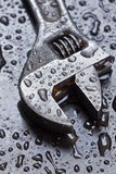 Adjustable wrench in water drops Royalty Free Stock Images