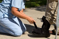 Adjusting Ankle Brace Stock Images