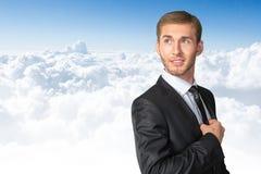 adjusting businessman his tie Στοκ φωτογραφία με δικαίωμα ελεύθερης χρήσης
