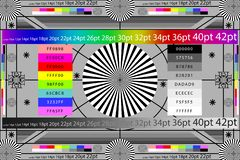 Adjusting camera lens test target colour chart. Tv screen background. EPS 10 stock illustration
