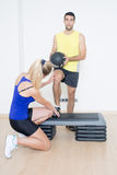 Adjusting functional training Stock Photos