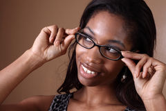 Adjusting glasses Stock Photo
