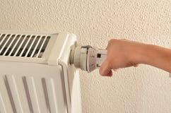 Adjusting heater medium Stock Photo