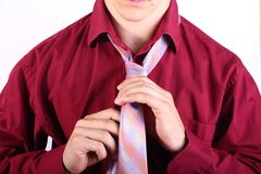 Adjusting necktie Royalty Free Stock Image