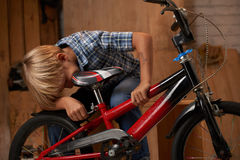 Adjusting new bicycle. Preteen boy adjusting bicycle seat for his height Stock Photos