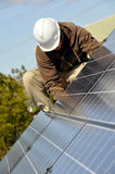 Adjusting Solar Panels Stock Images