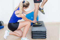 Adjusting step exercise Stock Image