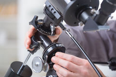Adjusting telescope Royalty Free Stock Images