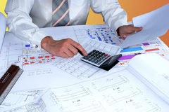 Adjustment builder's estimate. Demand loci executive high professionalism and experiment design work Royalty Free Stock Photography