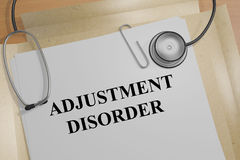 Adjustment Disorder - medical concept. 3D illustration of `ADJUSTMENT DISORDER` title on a medical document Stock Image