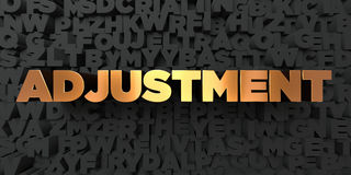 Adjustment - Gold text on black background - 3D rendered royalty free stock picture. This image can be used for an online website banner ad or a print postcard Stock Photos
