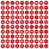 100 adjustment icons hexagon red. 100 adjustment icons set in red hexagon isolated vector illustration royalty free illustration