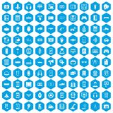 100 adjustment icons set blue. 100 adjustment icons set in blue hexagon isolated vector illustration Stock Image