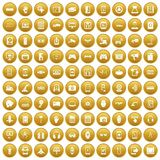 100 adjustment icons set gold. 100 adjustment icons set in gold circle isolated on white vectr illustration Stock Illustration