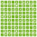 100 adjustment icons set grunge green Royalty Free Stock Images