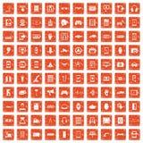 100 adjustment icons set grunge orange. 100 adjustment icons set in grunge style orange color isolated on white background vector illustration Stock Image