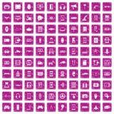 100 adjustment icons set grunge pink. 100 adjustment icons set in grunge style pink color isolated on white background vector illustration Stock Image