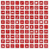100 adjustment icons set grunge red. 100 adjustment icons set in grunge style red color isolated on white background vector illustration Royalty Free Stock Photography