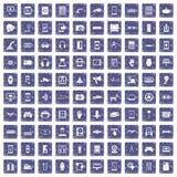 100 adjustment icons set grunge sapphire. 100 adjustment icons set in grunge style sapphire color isolated on white background vector illustration Royalty Free Stock Photography