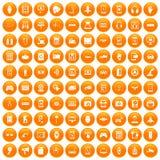 100 adjustment icons set orange. 100 adjustment icons set in orange circle isolated vector illustration Stock Illustration