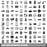 100 adjustment icons set, simple style Stock Image