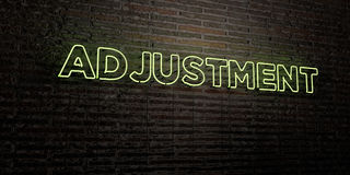 ADJUSTMENT -Realistic Neon Sign on Brick Wall background - 3D rendered royalty free stock image. Can be used for online banner ads and direct mailers Royalty Free Stock Photography