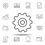 adjustment settings gear outline icon. Detailed set of unigrid multimedia illustrations icons. Can be used for web, logo, mobile