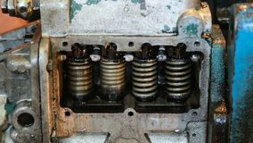 Adjustment of the valves of diesel fuel system injectors, close-up.  stock video