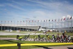 Adler-arena hastighet som åker skridskor stadion på XXII vinterOS Arkivfoton
