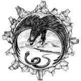 Adler gegen eine Schlange Stockbild