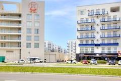 Adler. Marine boulevard. SOCHI, ADLER, RUSSIA - April 28.2015: Resort area of the city. Marine boulevard  and Hotel Stock Image