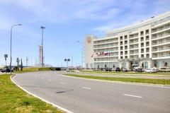 Adler. Marine boulevard. SOCHI, ADLER, RUSSIA - April 28.2015: Resort area of the city. Marine boulevard  and Hotel Stock Photos
