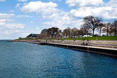 Adler Planetarium on Northerly Island by Lake Michigan Stock Images