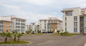 City-hotel `Velvet seasons`. ADLER, RUSSIA - AUGUST 9, 2014: `Catherine`s block` city-hotel `Velvet seasons`. The hotel complex is built for a summer Olympic royalty free stock photos