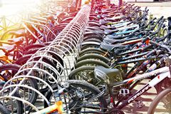 ADLER, SOCHI, RUSSIA - May 01, 2019: Bicycle parking for rent. In sunny day stock image