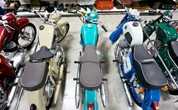 ADLER, SOCHI, RUSSIA - May 06, 2019: Retro motorcycles in store. ADLER, SOCHI, RUSSIA - May 06, 2019: Retro motorcycles in the store stock photography