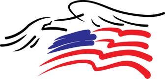 Adler und amerikanische Flagge Stockfotografie