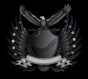 Adler-und des Schild-B&W Abzeichen Lizenzfreie Stockfotos