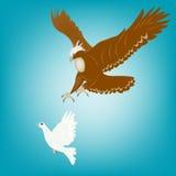 Adler und Taube Lizenzfreies Stockfoto