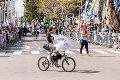 Adloyada每年狂欢节的参加者在童话服装乘驾穿戴了一辆自行车在纳哈里亚,以色列 库存照片