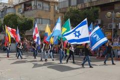 Adloyada霍隆。普珥节狂欢节。以色列 免版税图库摄影