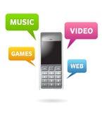 Adminículos y características elegantes del teléfono Imagen de archivo libre de regalías