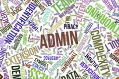 Admin, begreppsmässigt ordmoln för affär, informationsteknik eller IT Royaltyfria Bilder