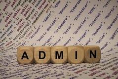 Admin - cube avec des lettres et des mots à partir de l'ordinateur, logiciel, catégories d'Internet, cubes en bois Images libres de droits