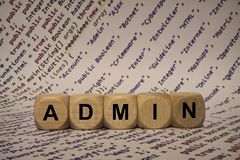 Admin - cube with letters and words from the computer, software, internet categories, wooden cubes royalty free stock images