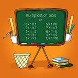 A administração da escola, a tabela de multiplicação, livros, régua, suporte do lápis, caixote de lixo Imagens de Stock