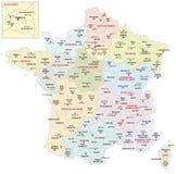 Administracyjna mapa 13 regionu France od 2016 Zdjęcia Stock