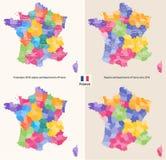 Administracyjni regiony i działy Francja wektorowa mapa Obraz Stock