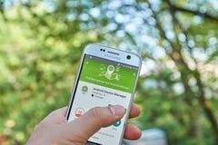 Administrador de dispositivos app de Google Android Foto de archivo libre de regalías